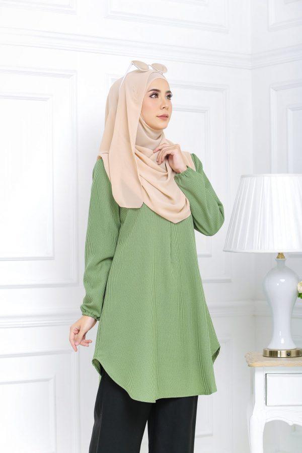 Blouse Muslimah Isabell Stripe Green